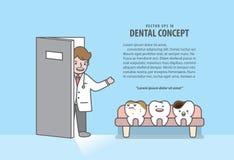 Доктор вызывает характеры зубов сидя в линии на зубоврачебном векторе иллюстрации плана зала ожидания офиса клиники на голубой пр стоковые изображения