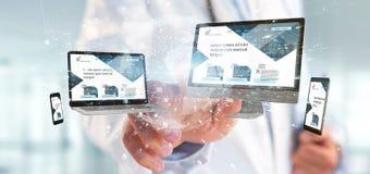 Доктор держащ приборы соединенные с переводом сети 3d глобального бизнеса стоковая фотография