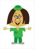 Доктор девушки шаржа на белизне Стоковая Фотография