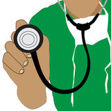 Доктор держа значок стетоскопа Стоковые Изображения RF