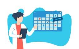Доктор женщины и календарь, отметка бесплатная иллюстрация