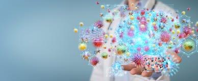 Доктор используя цифровой перевод вируса 3D nanobot Иллюстрация штока
