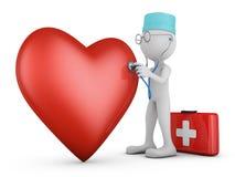Доктор и красное сердце иллюстрация штока