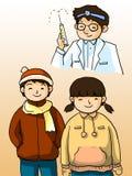 Доктор и малыши Стоковая Фотография