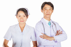 Доктор и медсестра принимают фото совместно Стоковая Фотография