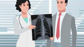 Доктор клиники/женщины шаржа и пациент мужчины акции видеоматериалы