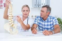 Доктор показывая анатомический позвоночник к ее пациенту Стоковые Изображения