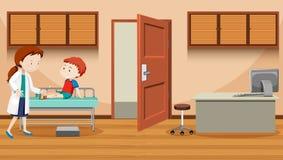 Доктор помогая раненому мальчику иллюстрация штока
