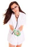 Доктор при пилюльки изолированные на белой концепции здоровья медицинского персонала предпосылки Стоковое Изображение