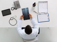 Доктор при рентгеновский снимок позвоночника сидя на таблице Стоковое Изображение RF
