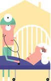 Доктор рассматривает пожилую женщину иллюстрация штока