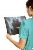 доктор рассматривая женский луч изображения x Стоковая Фотография