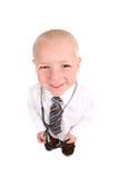 доктор ребенка смотря усмедущся вверх по телезрителю стоковое фото rf