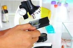 доктор с оборудованием лаборатории в чистой комнате используя микроскоп смотря образец и показатель стоковая фотография rf