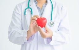 Доктор с повешенным stethocope держит красную резиновую форму сердца Стоковые Фотографии RF