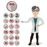 Доктор человека и 18 медицинские значков Иллюстрация вектора