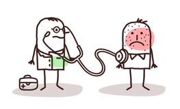 Доктор шаржа с больным человеком Стоковые Изображения