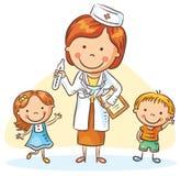Доктор шаржа с счастливыми маленькими детьми, мальчиком и девушкой иллюстрация вектора