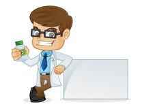 Доктор Holding Медицина Бутылка и склонность на пустом знаке Стоковая Фотография RF