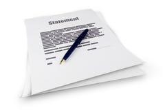 Документ заявления Стоковые Фото