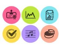 Документ подтверженный, отчет и значки сертификата установили Музыкальное примечание, долевая диограмма диаграммы и знаки r бесплатная иллюстрация