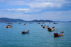 Док в пляже Nha Trang, Khanh Hoa, Вьетнаме Стоковая Фотография RF