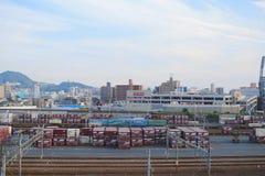 док поезда на Хиросиме Японии Стоковые Фотографии RF