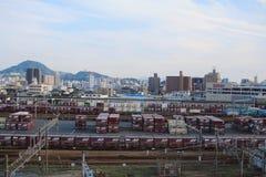 док поезда на Хиросиме Японии Стоковая Фотография