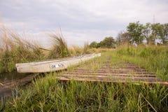 Док Makoro в перепаде Okavango стоковое фото rf