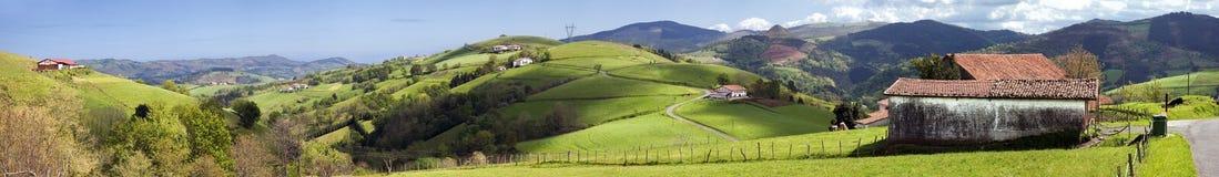 долина баскской страны панорамная Стоковые Фото