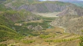 Долина горы в горах осени видеоматериал
