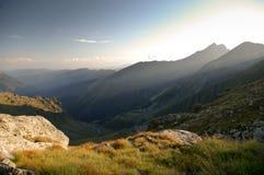 долина горы после полудня драматическая последняя светлая Стоковая Фотография