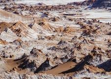 Долина луны, пустыня Atacama в Чили Стоковые Изображения
