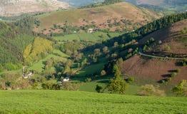 Долина около Llangollen на Horseshoe дороге пропуска Стоковое Изображение RF