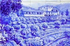 долина Португалии pinhao douro керамики azulejo стоковые фото