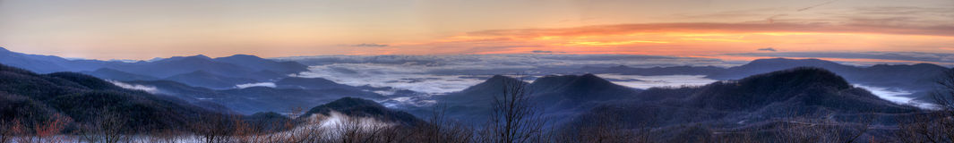 долина тумана панорамная Стоковое Изображение