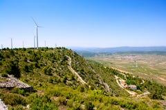 Долина Aras de los Olmos с winmills Стоковые Изображения