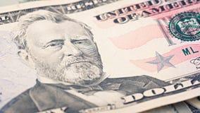 Долларовая банкнота денег 50 крупного плана американская Портрет Улисс Грант, мы макрос части банкноты 50 долларов Стоковое фото RF