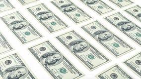 Долларовая банкнота денег 100 обоев американская изолированная на белой предпосылке Много банкнота США 100 Стоковое Изображение RF