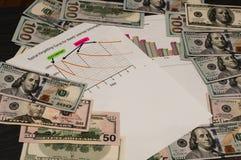Долларовые банкноты и диаграмма экономики на черной предпосылке дополнительная форма дела предпосылки Стоковое фото RF