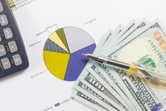 Долларовые банкноты, калькулятор, ручка, диаграммы дела все на таблице Стоковое Изображение