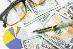 Долларовые банкноты, калькулятор, ручка, диаграммы дела все на таблице Стоковые Фото