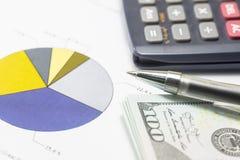Долларовые банкноты, калькулятор, ручка, диаграммы дела все на таблице Стоковые Фотографии RF