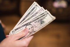 Долларовые банкноты, предпосылка денег Денег доллары конца комплекта вверх Стоковое фото RF