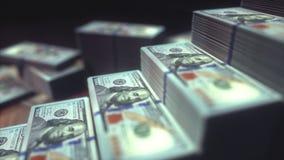 Долларовые банкноты растя диаграмма в виде вертикальных полос сток-видео