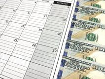 100 долларовых банкнот в повестке дня календаря Изображение фото Стоковые Изображения