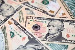 10 долларовых банкнот закрывают вверх Стоковое Изображение RF