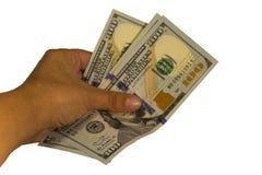 300 долларов в руке изолированной на белой предпосылке Стоковое Изображение