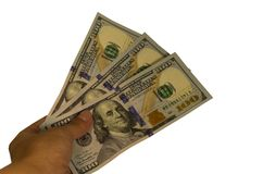 300 долларов в руке изолированной на белой предпосылке Стоковая Фотография