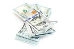 100 долларов изолированных на белой предпосылке Стоковое Изображение RF